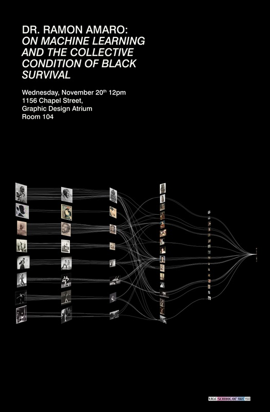 Poster for lecture by Dr. Ramon Amaro, featuring a sequence of images linked via overlapping networks.