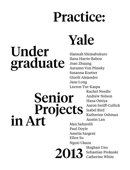 "Still image of the poster for ""Practice"" the 2013 Senior Thesis Show at Yale School of Art."