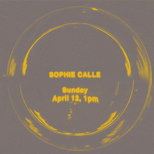 Poster design for an online Q&A with Sophie Calle on April 12 at 1pm.