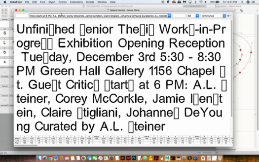 """A poster publicizing the exhibition """"UNFINISHED"""" featuring senior thesis works in progress."""
