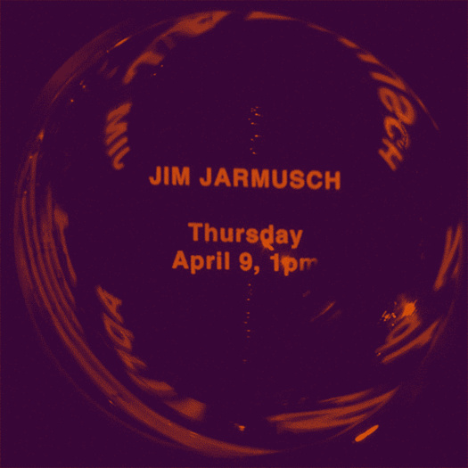 Poster design for an online Q&A with Jim Jarmusch on April 9 at 1pm.