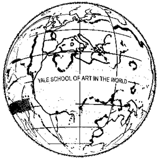"A repeating animated gif of a black and white globe turning with the words ""Yale School of Art in the World."""