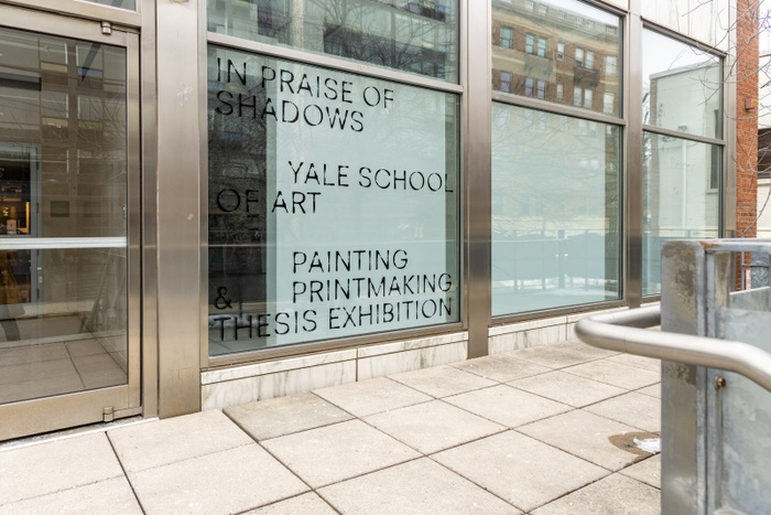 Installation image of exhibition identity outside of Green Hall Gallery.