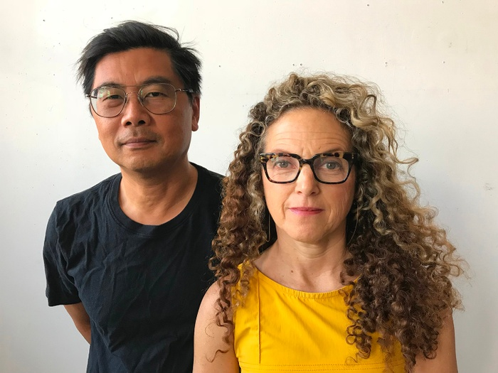 This is a still image of the new co-directors of the Yale Norfolk School of Art: Byron Kim on the left, with Lisa Sigal standing slightly in front of him on the right.