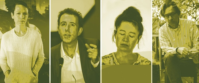 This is a still four-part photo duotoned in white and an olive/mustard color featuring the profile images of the four 2017-18 Hayden Distinguished Fellows: Carol Bove on the far-left, Peter Osborne in the middle-left, Hito Steyerl in the middle-right, and Richard Hawkins on the far-right.