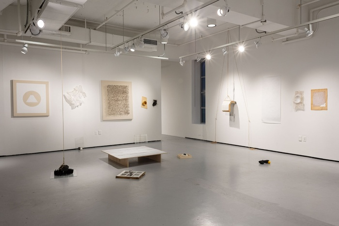 Documentation photograph of the Spring 2020 Painting Thesis Show Group 2 in Green Hall Gallery