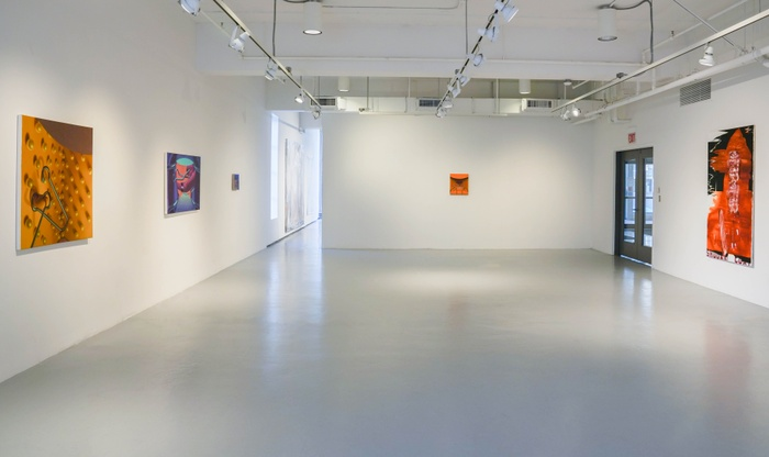 "Installation shot of Group 1 of the 2021 Painting/Printmaking MFA thesis show: ""In Praise of Shadows"""