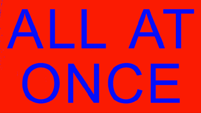 """Poster for the 2021 Graphic Design MFA thesis show: """"All at Once"""""""