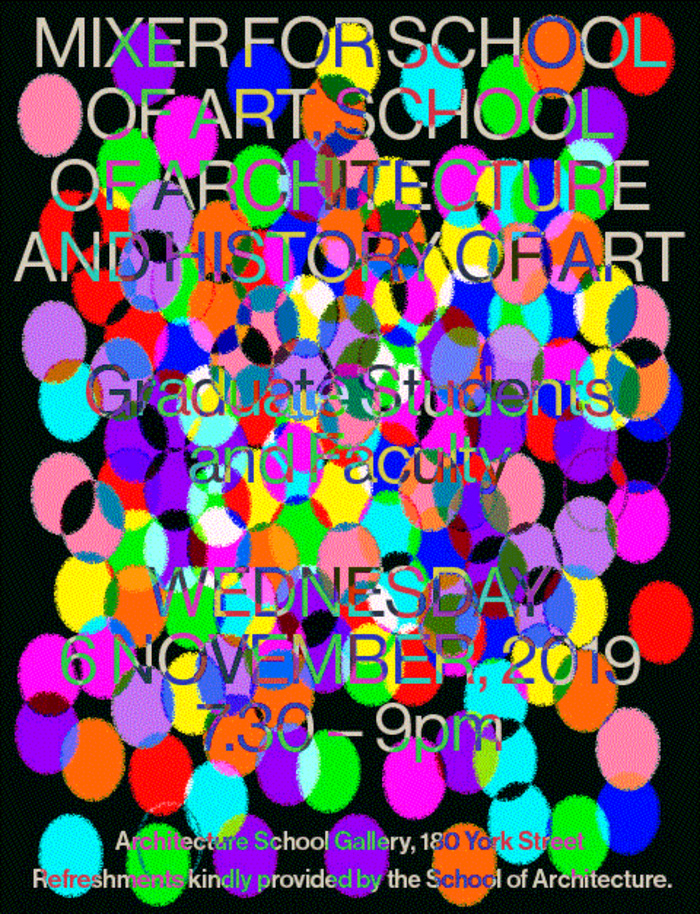 Poster design for the art schools mixer, featuring multicolored dots over text.