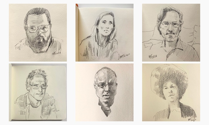 A series of illustrations of the pop up guests, by artist Eugene Gladun.