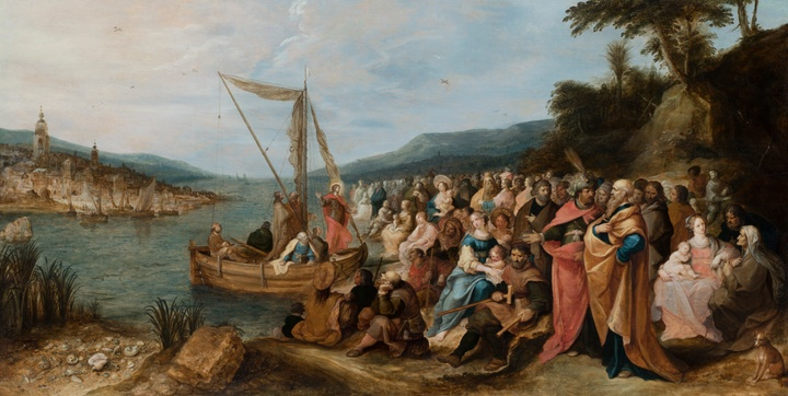Frans Francken II, The Preaching of Jesus on the shores of the Sea of Galilee, oil on panel, cm 84x170, fully signed and date 1631.jpg