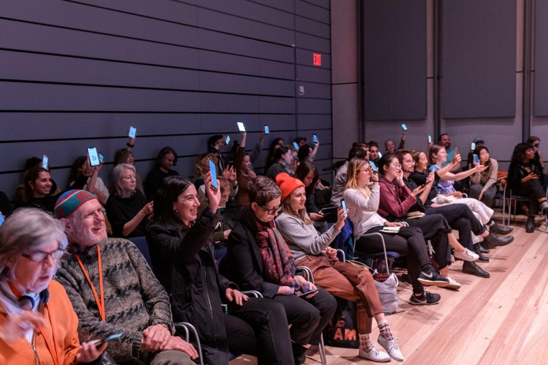 Audience interacting with software created by Jonathan Dahan, Cezar Mocan, and Yehwan Song.