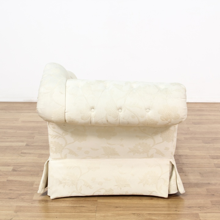 Curved White Floral Tufted Chaise Lounge Loveseat