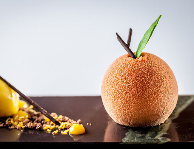 Chocolate orange confit mousse, orange confit sorbet by Michael Caines