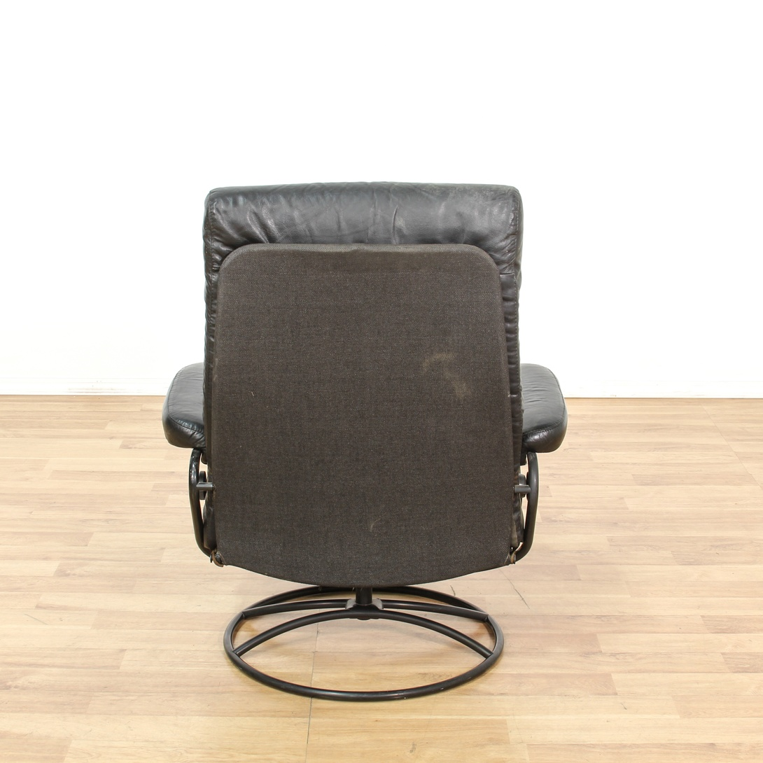 Contemporary Black Leather Swivel Lounge Chair Loveseat Vintage Furniture San Diego Los Angeles