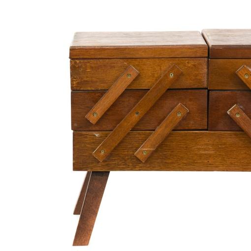 Rustic Wood Folding Accordion Sewing Box Basket Loveseat Vintage Furniture San Diego Los Angeles