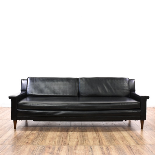 Black Vinyl Mid Century Modern Roll Out Sofa Bed