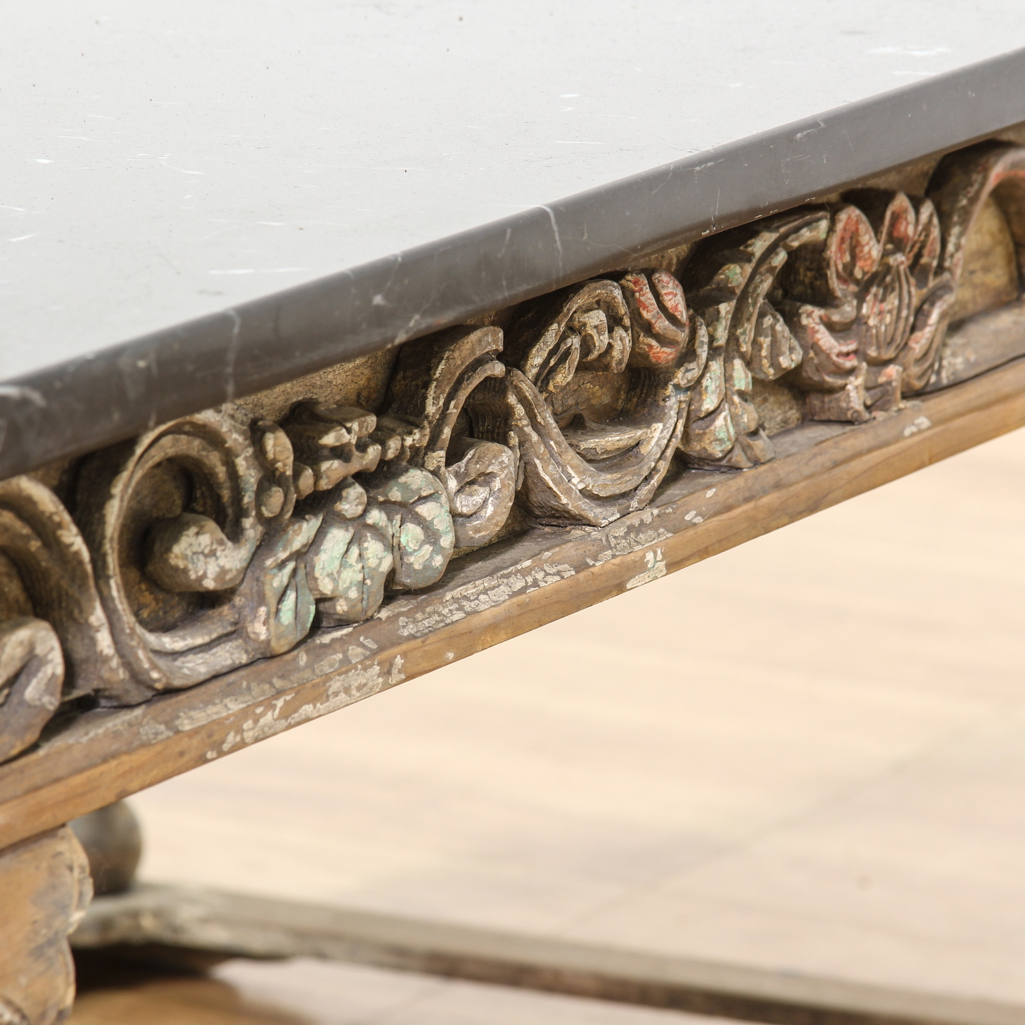 Engraved Limestone Inlay : Chinese carved wood black marble top coffee table