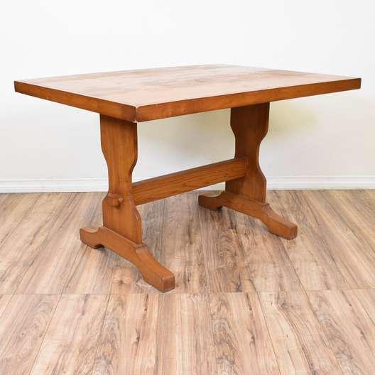 Rustic Light Oak Trestle Table