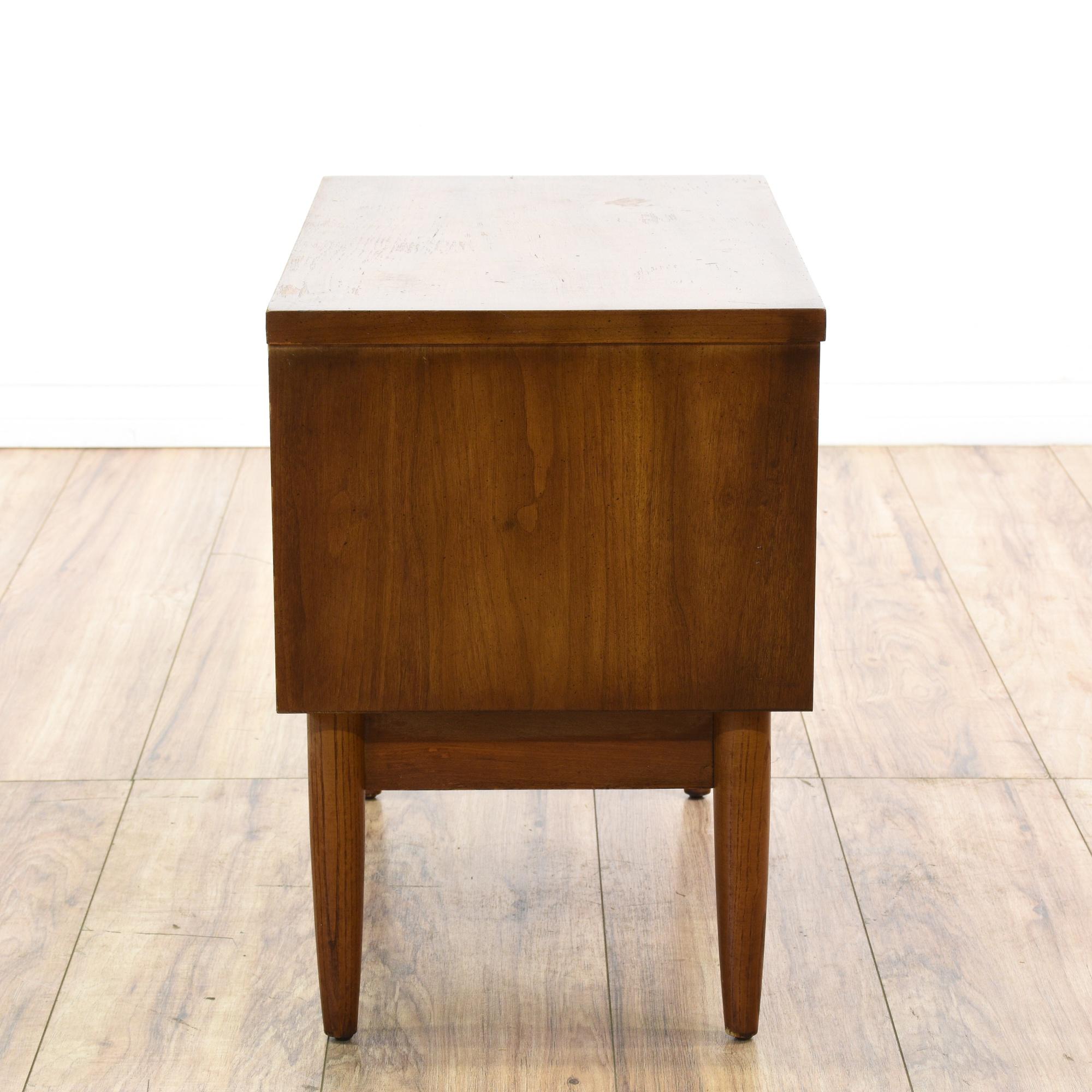 Dixie mid century modern walnut nightstand loveseat for Mid century furniture san francisco