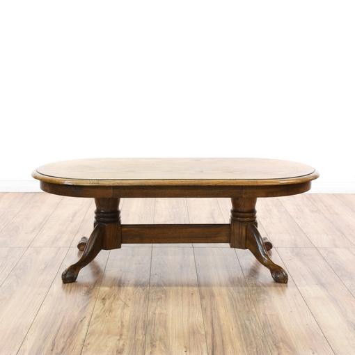 Oval Oak Claw Foot Coffee Table