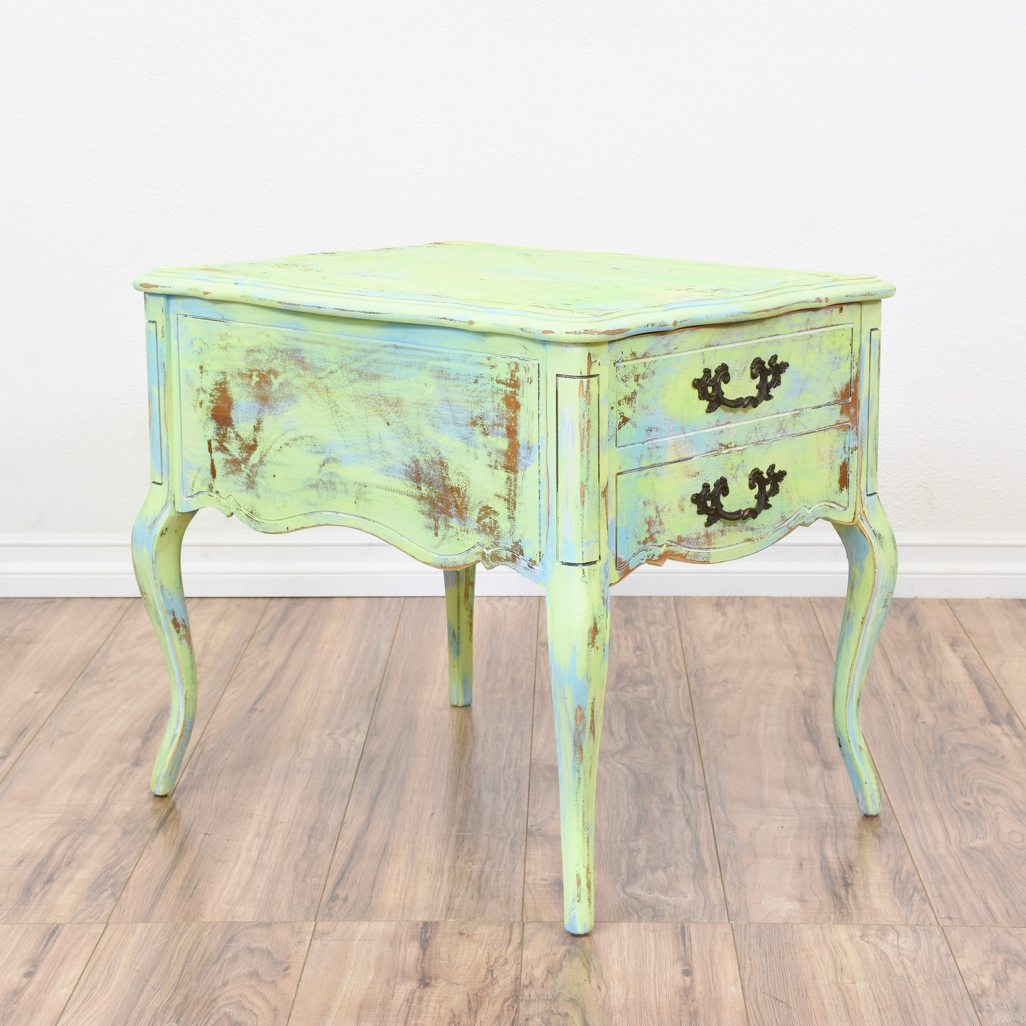 hammary mint green blue shabby chic end table loveseat vintage furniture san diego los. Black Bedroom Furniture Sets. Home Design Ideas