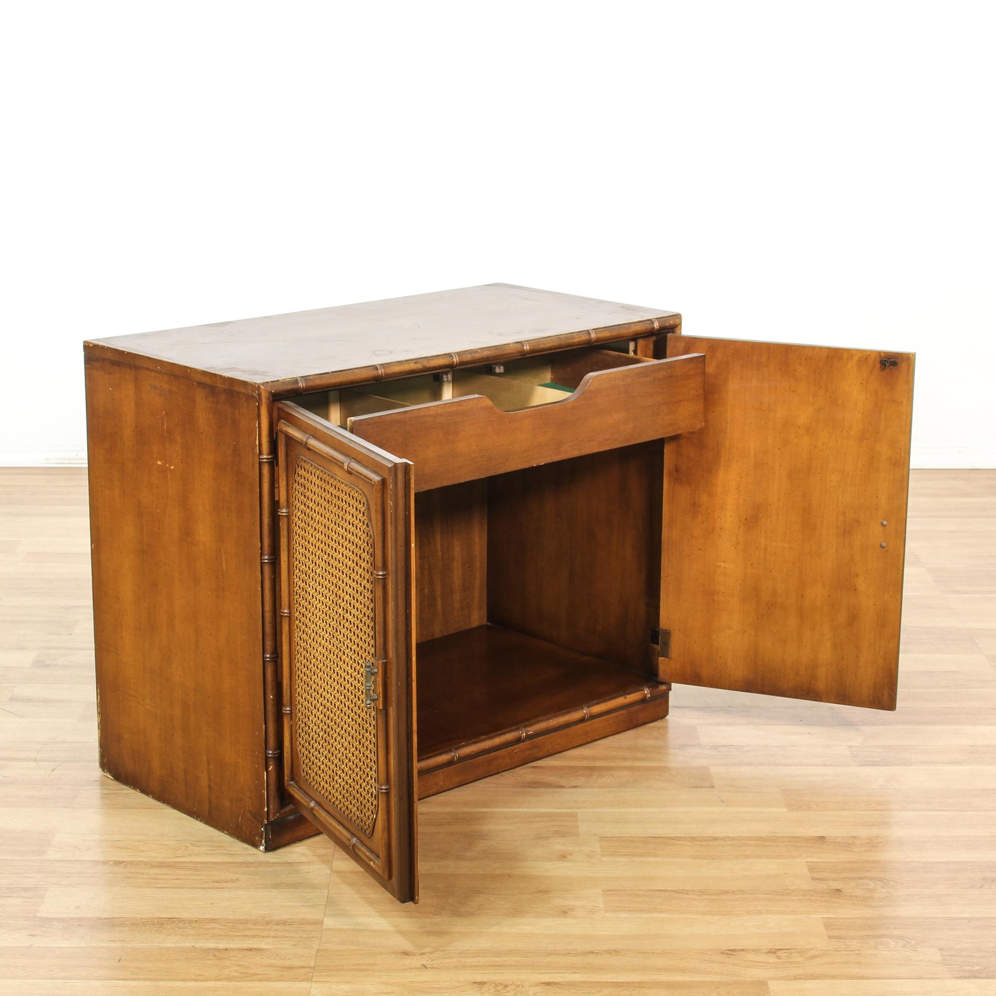 Wicker Front Bamboo Motif Cabinet Loveseat Vintage