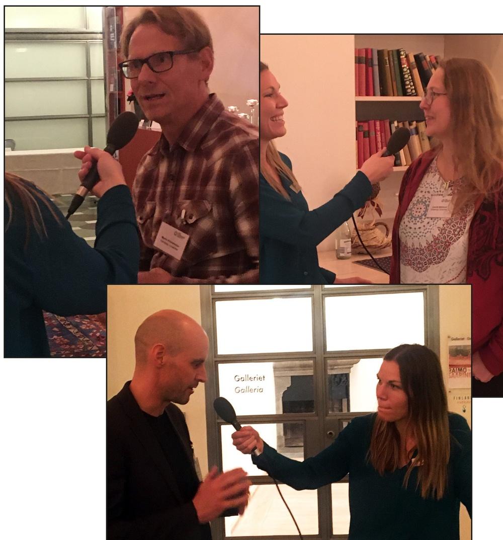 Fotocollage från inspelningstillfället med programledaren och tre gäster