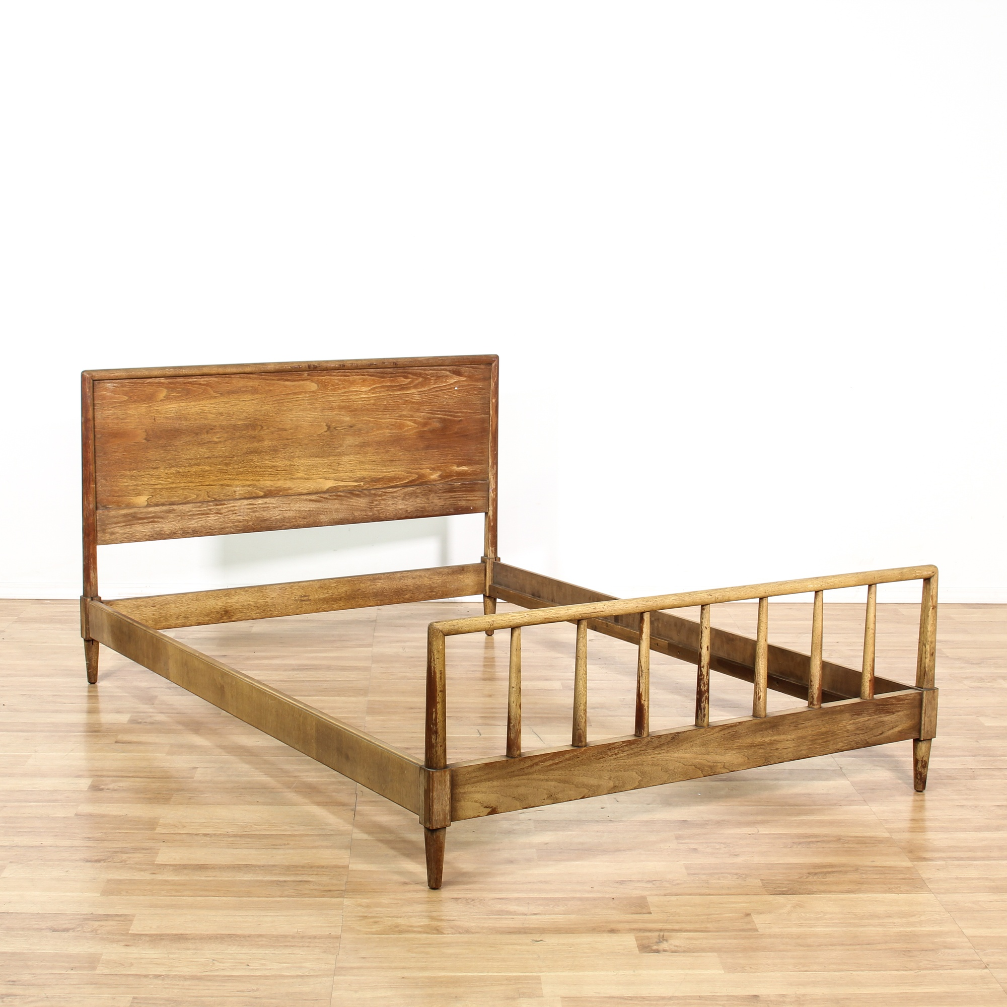 Mid century modern rustic wood full bed frame loveseat for Raw wood bed frame