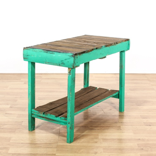 Teal Sofa Table: Rustic Distressed Teal Green Tiered Console Table