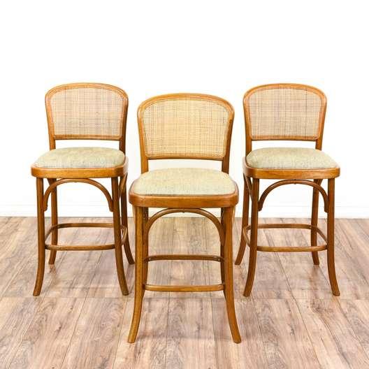 Set of 3 Bohemian Upholstered Bar Stools