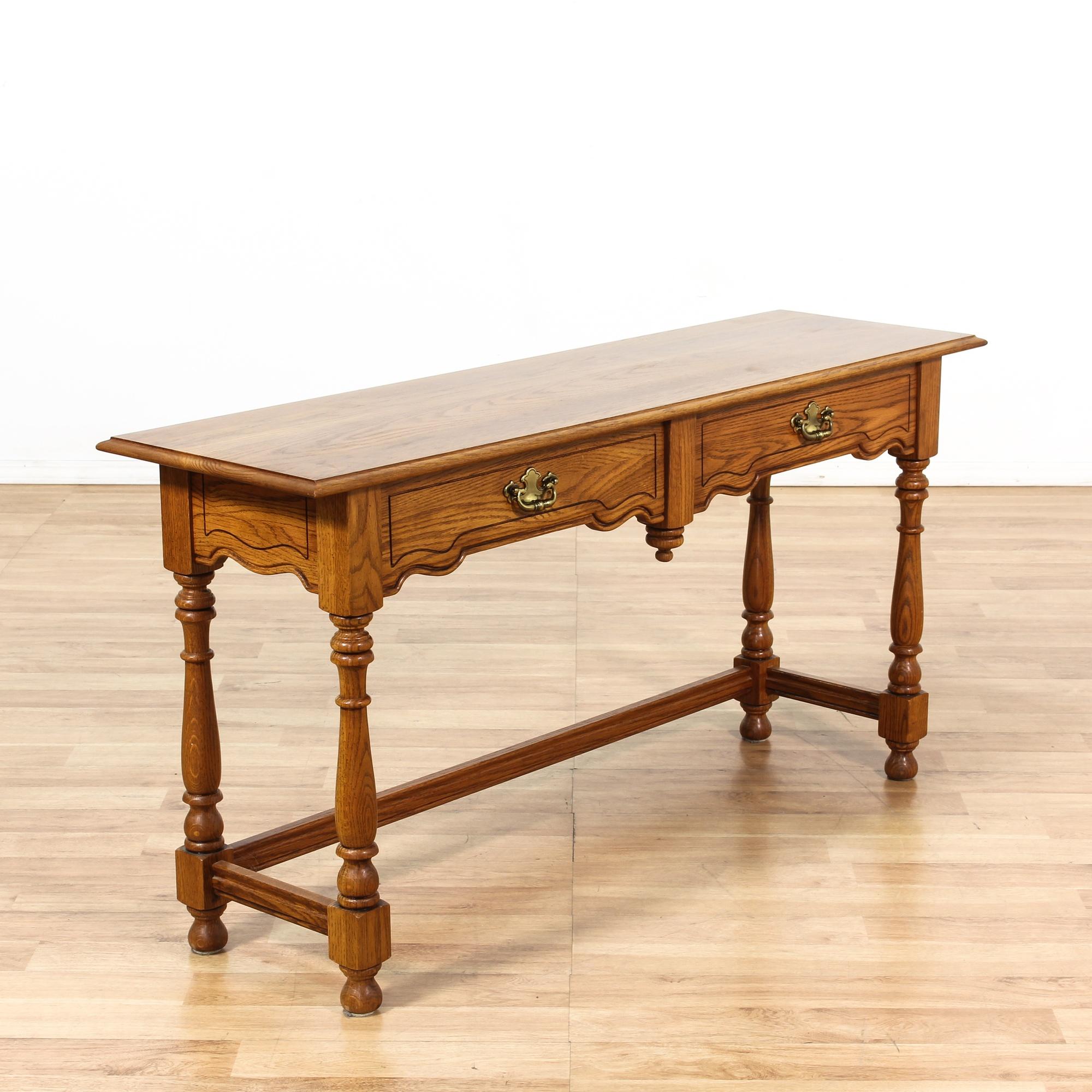 Oak Console Sofa Table | Loveseat Vintage Furniture Los Angeles