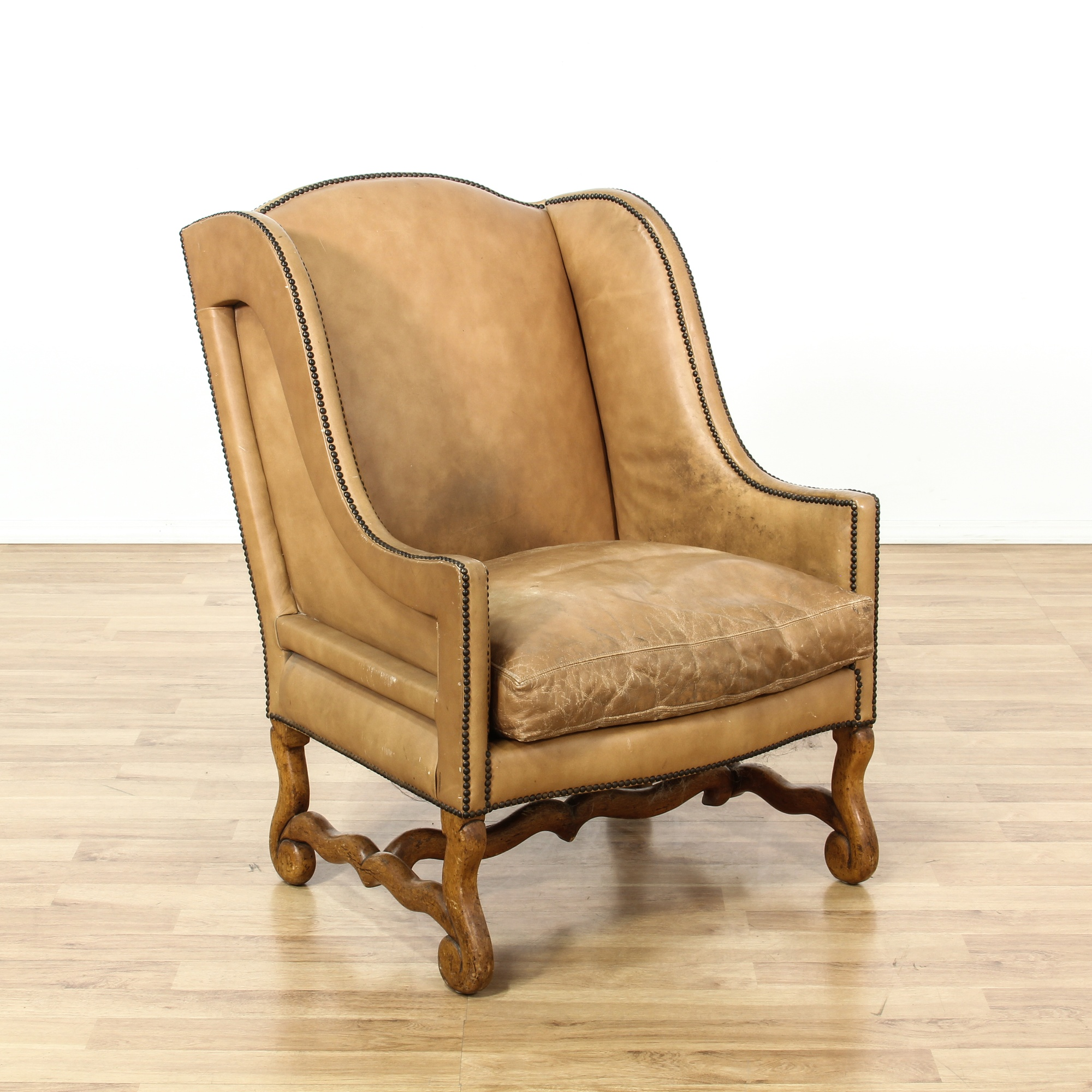 Studded Tan Leather Wingback Armchair Loveseat Vintage Furniture San Diego Los Angeles