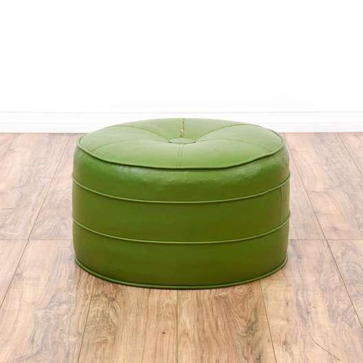 Light Green Vinyl Upholstered Ottoman