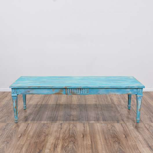 Shabby Chic Blue Carved Coffee Table