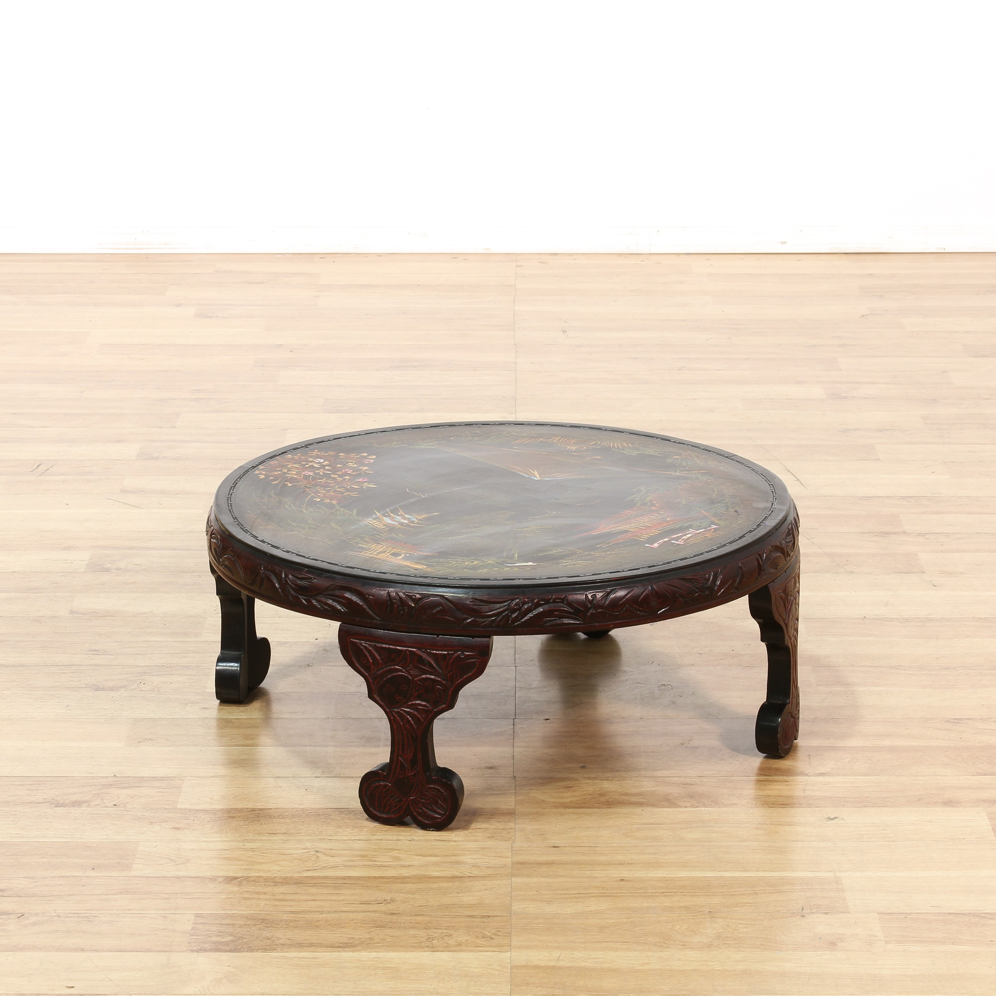Asian Round Carved Coffee Table Loveseat Vintage Furniture San Diego Los Angeles