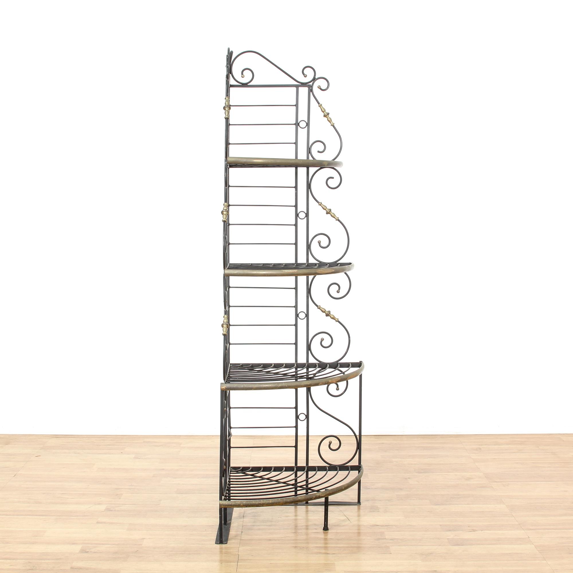 wrought iron brass corner baker 39 s rack shelf loveseat. Black Bedroom Furniture Sets. Home Design Ideas