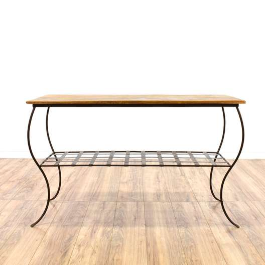 Industrial Style Wood and Metal Console Table