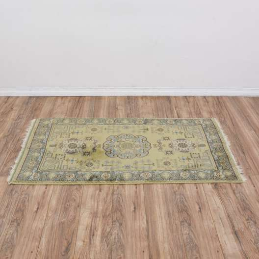 Green, Blue & Brown Print Wool Rug