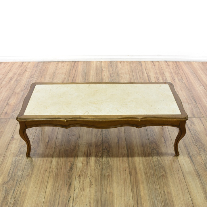 "French Provincial Oval Coffee Table: ""Mersman"" Marble French Provincial Coffee Table"