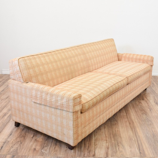 Terrific Plaid Peach Mid Century Modern Sofa Bed Loveseat Vintage Pabps2019 Chair Design Images Pabps2019Com