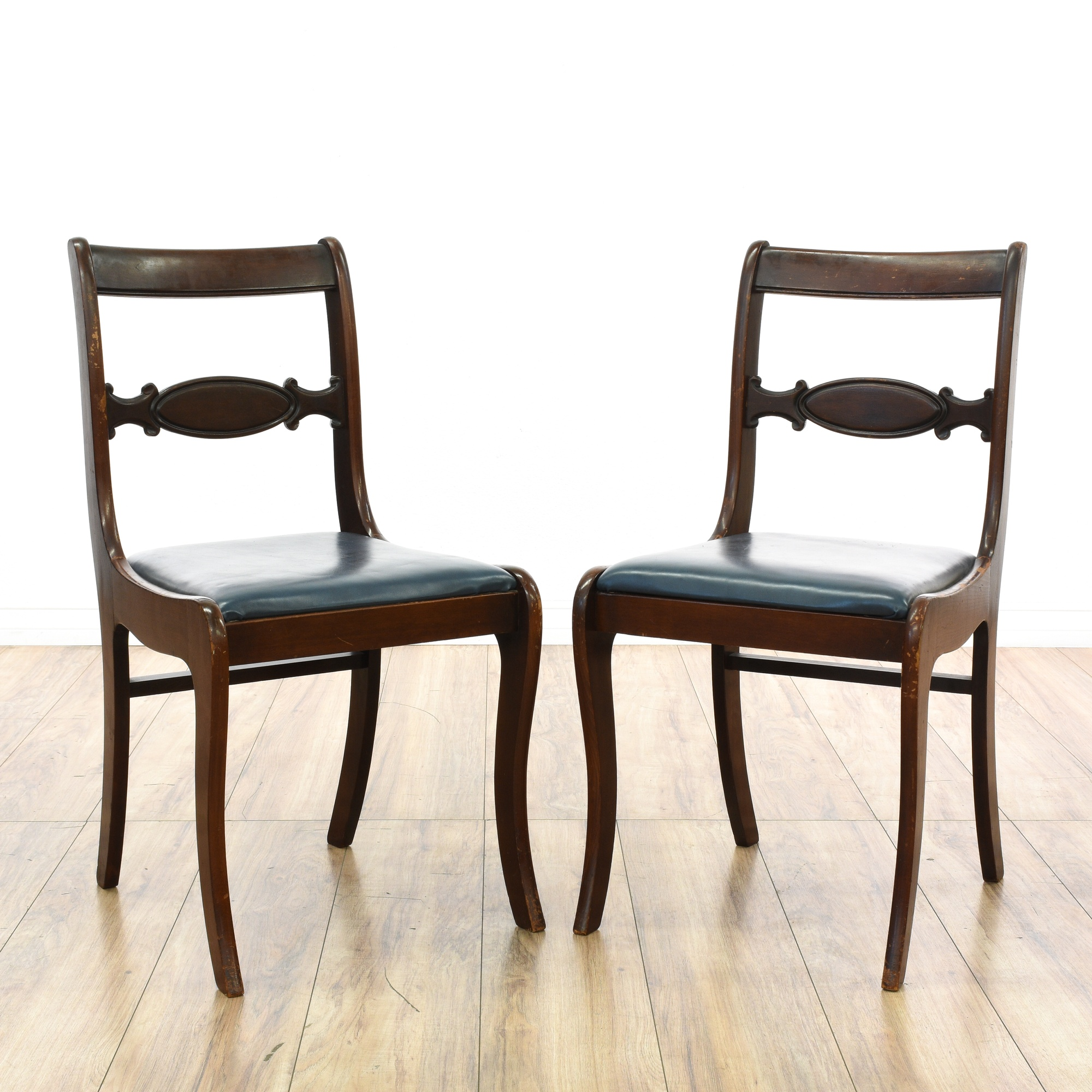 Pair of vinyl seat dining chairs