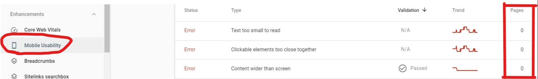 mobile usability report in google search console