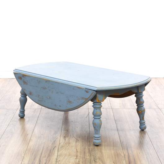 Shabby Chic Coffee Table Nz: Blue Shabby Chic Drop Leaf Coffee Table