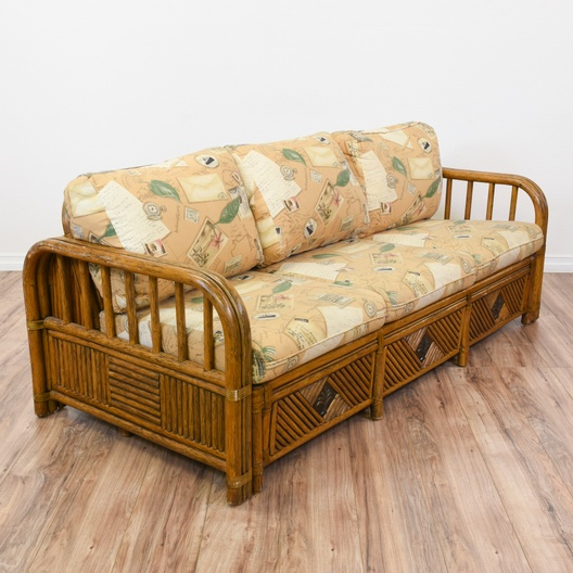 Tropical Rattan Sleeper Sofa Bed | Loveseat Vintage ...