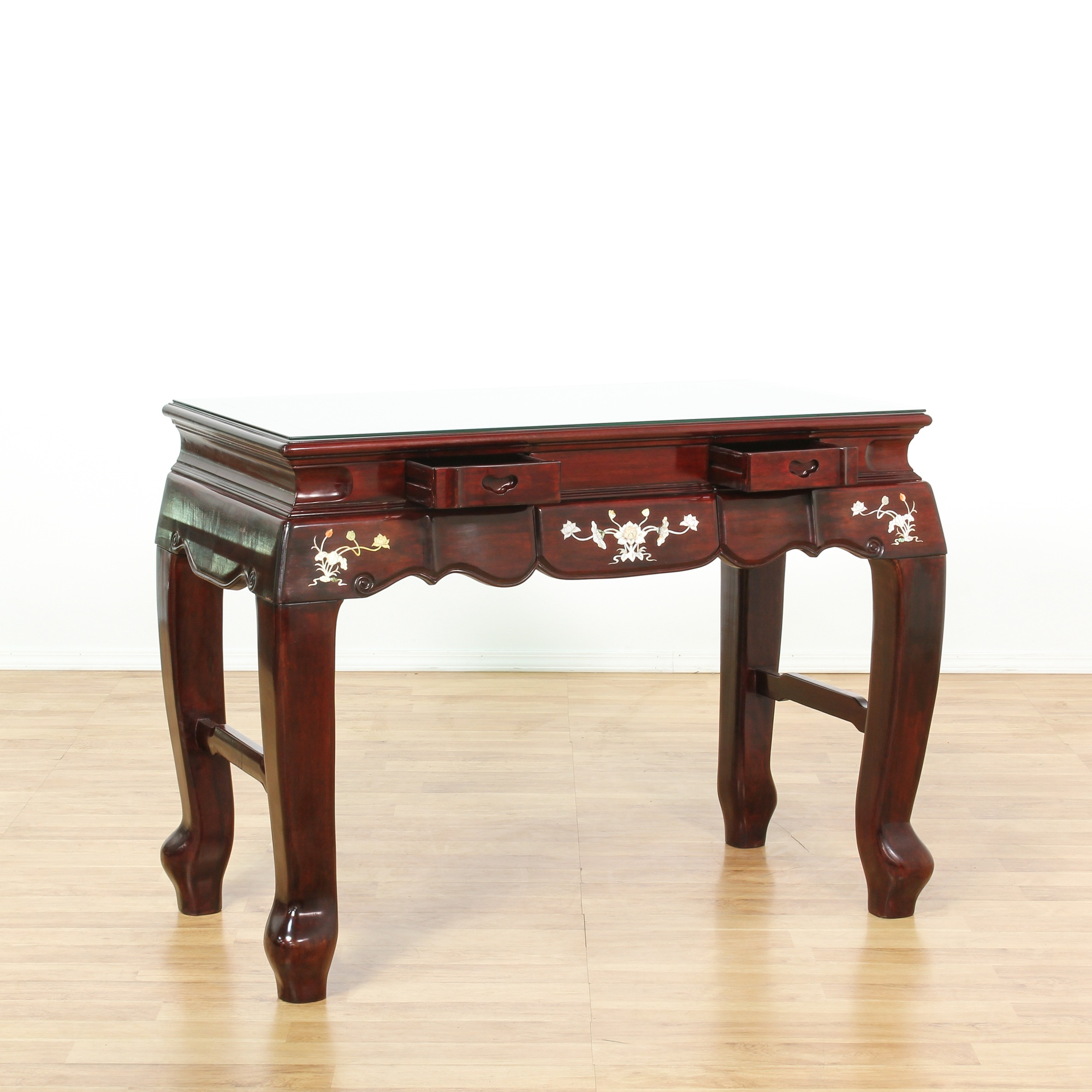 Asian Carved Rosewood End Table