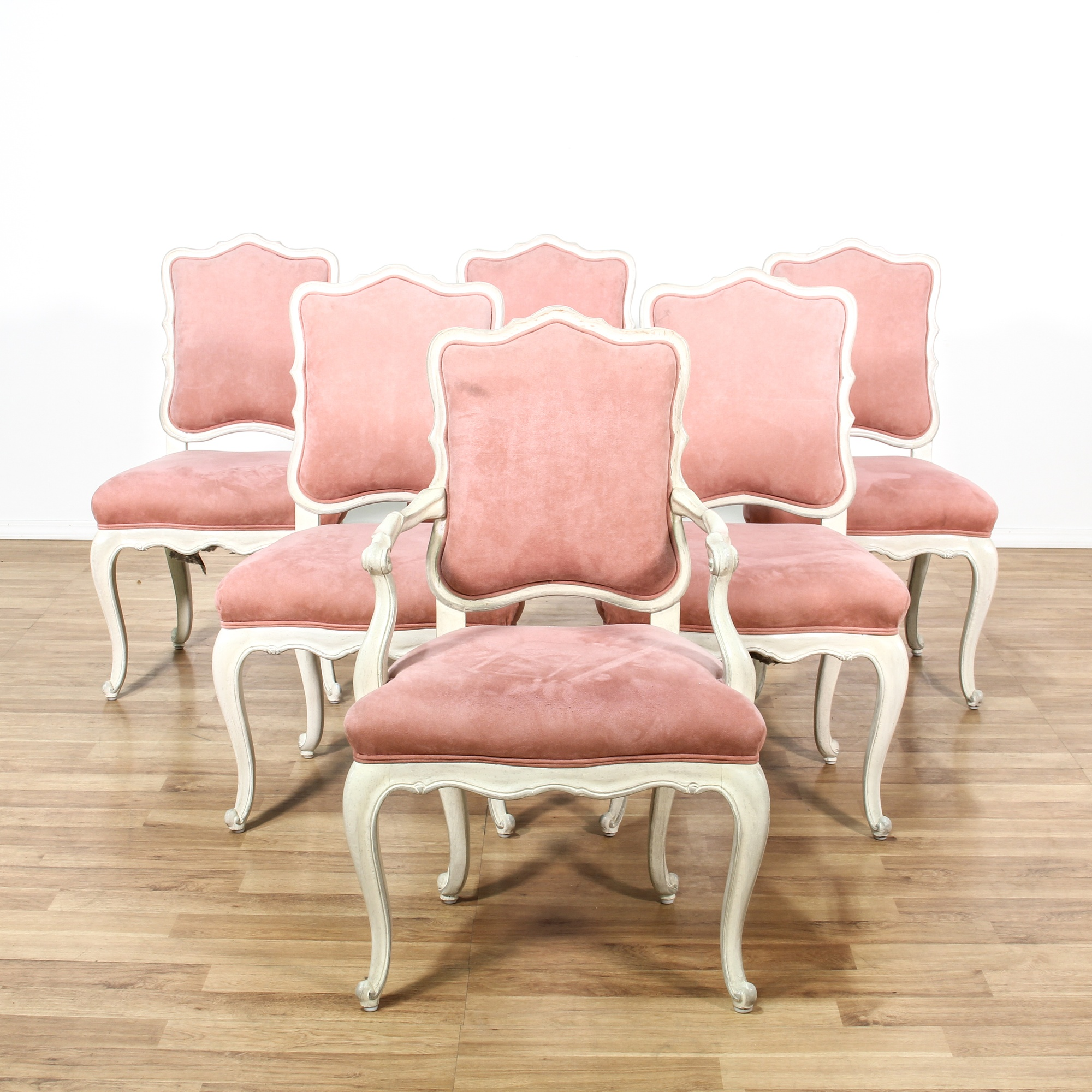 Set Of 6 Provincial Pink Upholstered Dining Chairs Loveseat Online Auctions Los Angeles