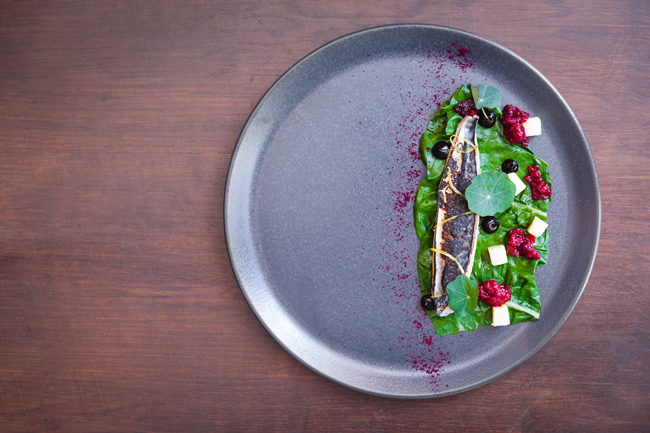 Mackerel, black and red currants, Isle of Mull cheddar, Swiss chard