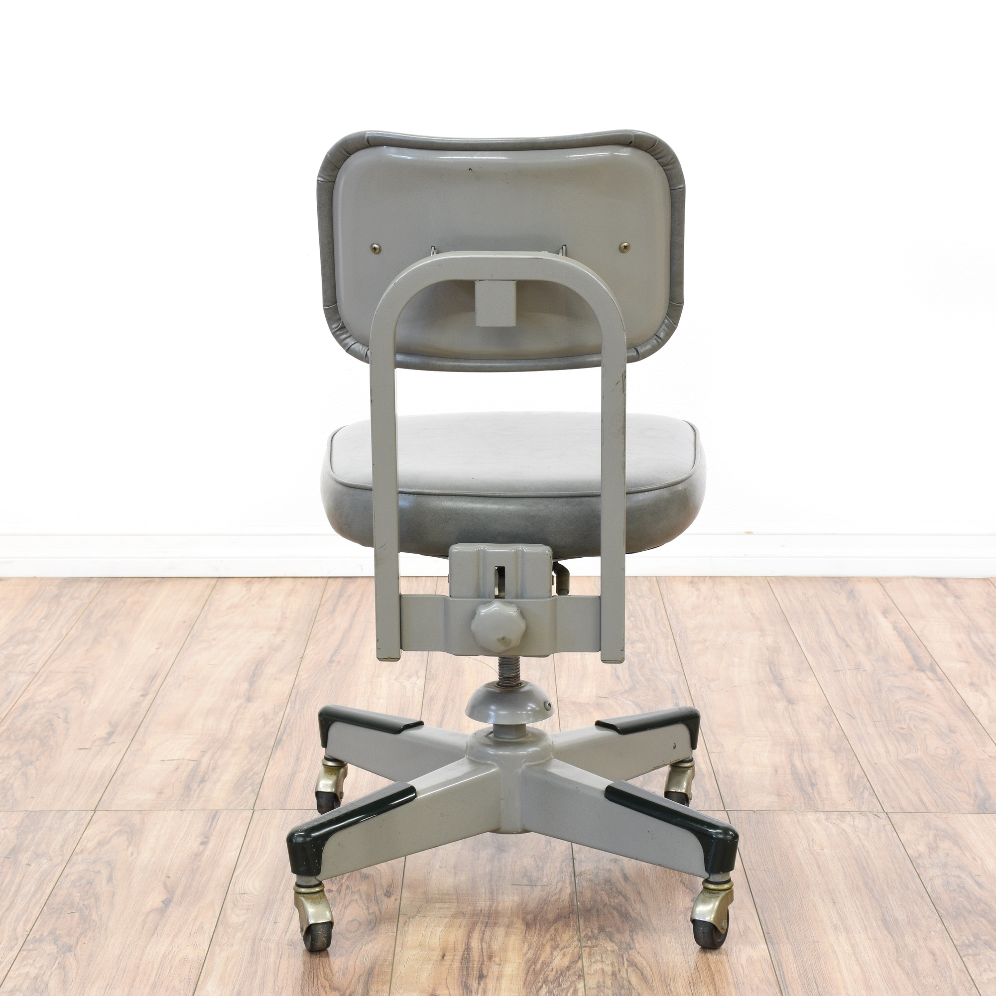 Retro Industrial Gray Vinyl Metal Office Chair