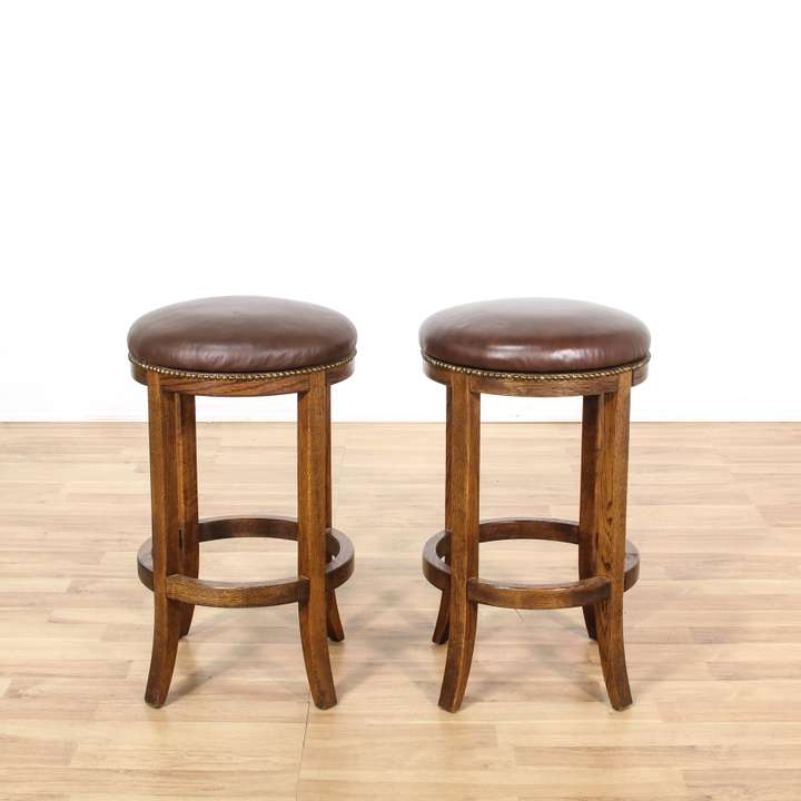 Pair Of Country Chic Maple Swivel Barstools Loveseat